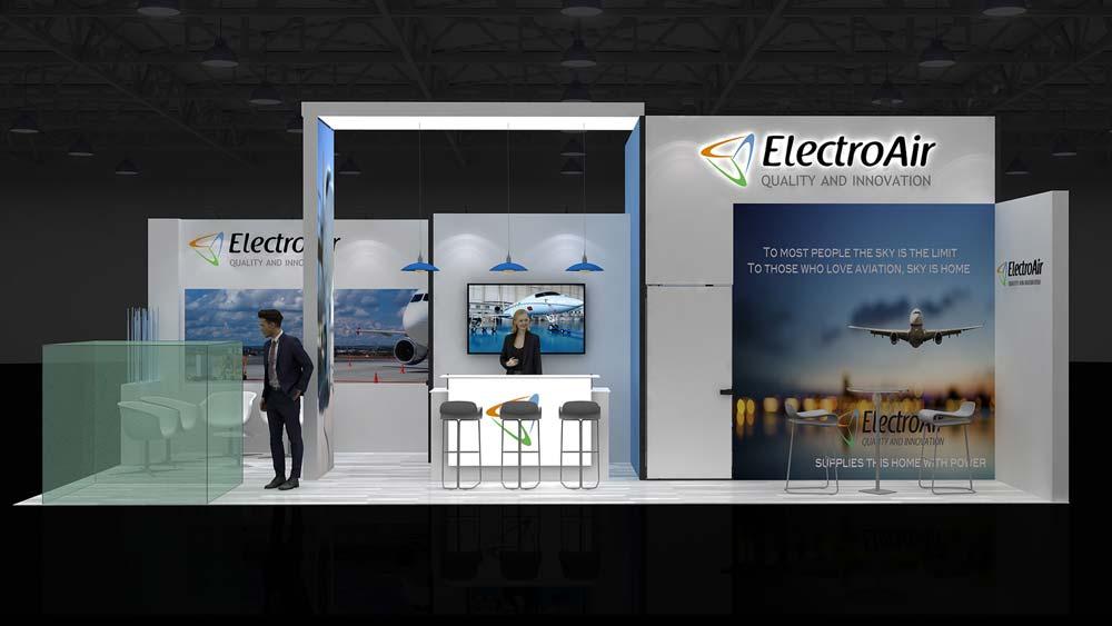 10X4m Corner Exhibition Stands, 40 m2 Exhibition Stands RE10X4 019 - EDS